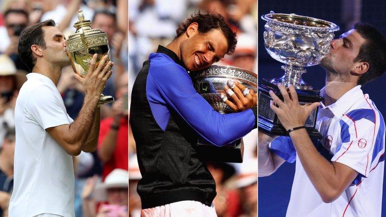Federer, Nadal, Djokovic Trofeos jpg